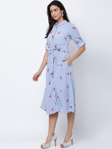 Queen ellie Women Blue Printed Shirt Dress