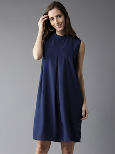 Queen ellie Women Blue Solid A-Line Dress