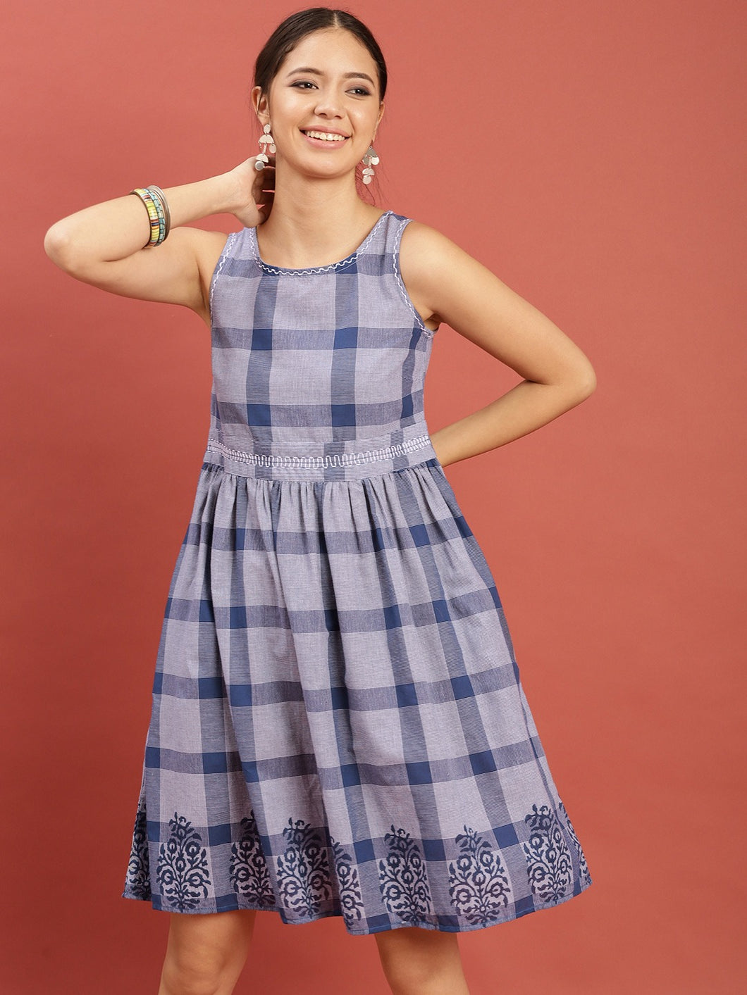 Queen ellie Women Blue & White Hand Block Print Legacy A-Line Dress with Gathers