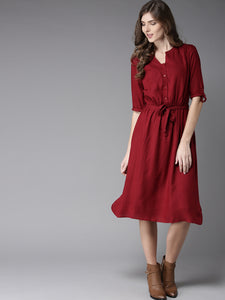Queen ellie Women Maroon Solid Midi A-Line Dress