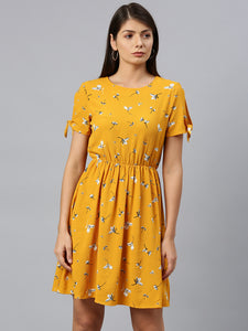 Queen ellie Women Mustard Yellow & White Floral Print Fit & Flare Dress With Tie-Up Sleeves