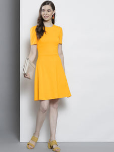 Queen ellie Women Yellow Fit and Flare Dress
