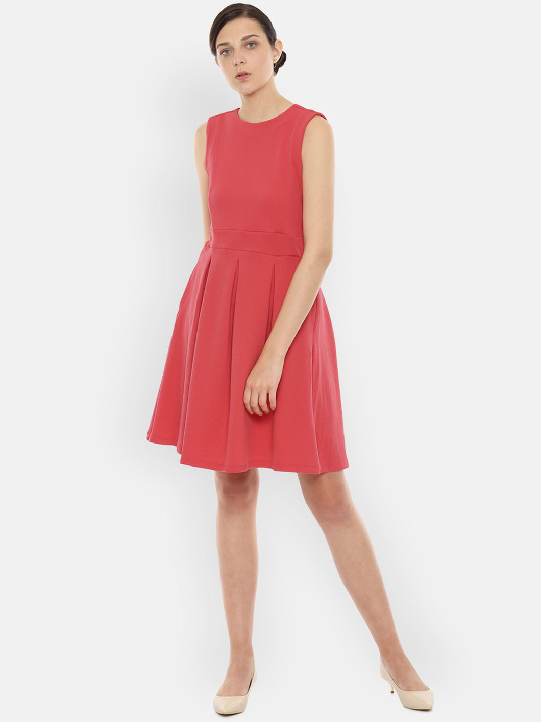 Queen ellie Women Solid Peach-Coloured Fit and Flare Dress