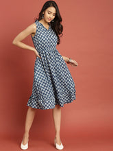 Load image into Gallery viewer, Queen ellie Women Blue Indigo Hand Block Print A-Line Dress with Layered Hem