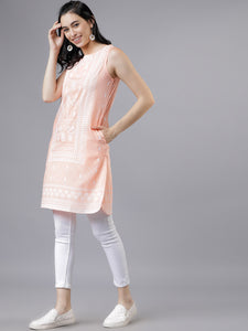 Queen ellie Peach-Coloured Printed Tunic