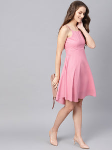 Queen ellie Women Pink Solid Fit and Flare Dress