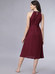 Queen ellie Women Maroon Embroidered A-Line Dress