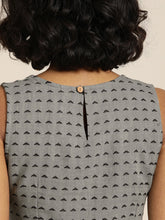 Load image into Gallery viewer, Queen ellie Women Grey & Black Self Design Woven Legacy A-Line Midi Dress with Gathers