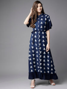 Queen ellie Women Navy Blue & White Printed Maxi Shirt Dress