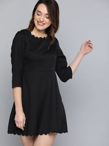 Queen ellie Women Black Solid A-Line Dress