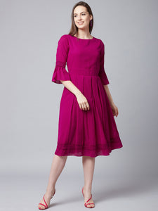 Queen ellie Women Pink Fit and Flare Dress