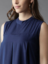 Load image into Gallery viewer, Queen ellie Women Blue Solid A-Line Dress