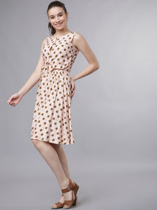Queen ellie Women Pink & Brown Printed Fit and Flare Dress
