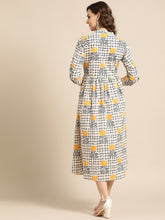 Load image into Gallery viewer, Queen ellie Women Beige & Navy Blue Printed A-Line Dress
