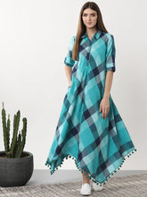 Load image into Gallery viewer, Queen ellie Women Blue Checked Fusion Maxi Dress
