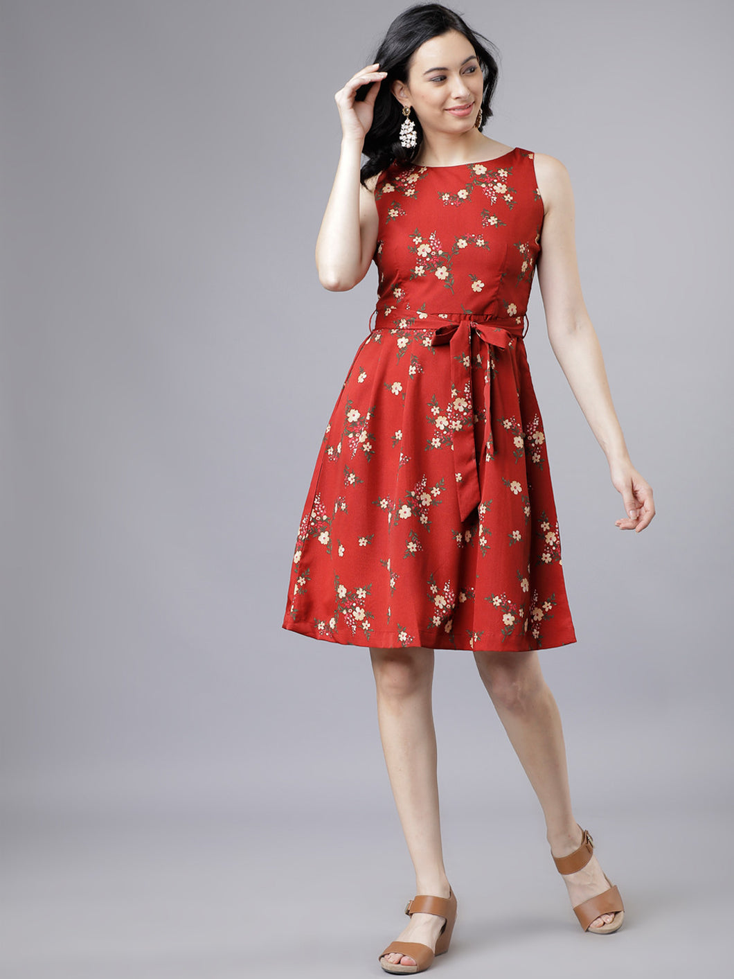Queen ellie Women Rust Red Floral Printed Dress