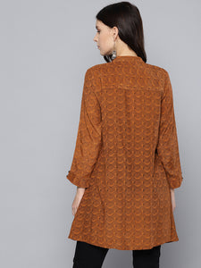Queen EllieWomen Rust Brown & Black Printed Tunic