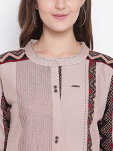 Load image into Gallery viewer, Queen ellie Women Beige Embroidered A-Line Kurti