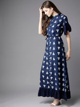Load image into Gallery viewer, Queen ellie Women Navy Blue & White Printed Maxi Shirt Dress