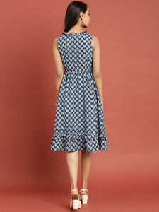 Queen ellie Women Blue Indigo Hand Block Print A-Line Dress with Layered Hem