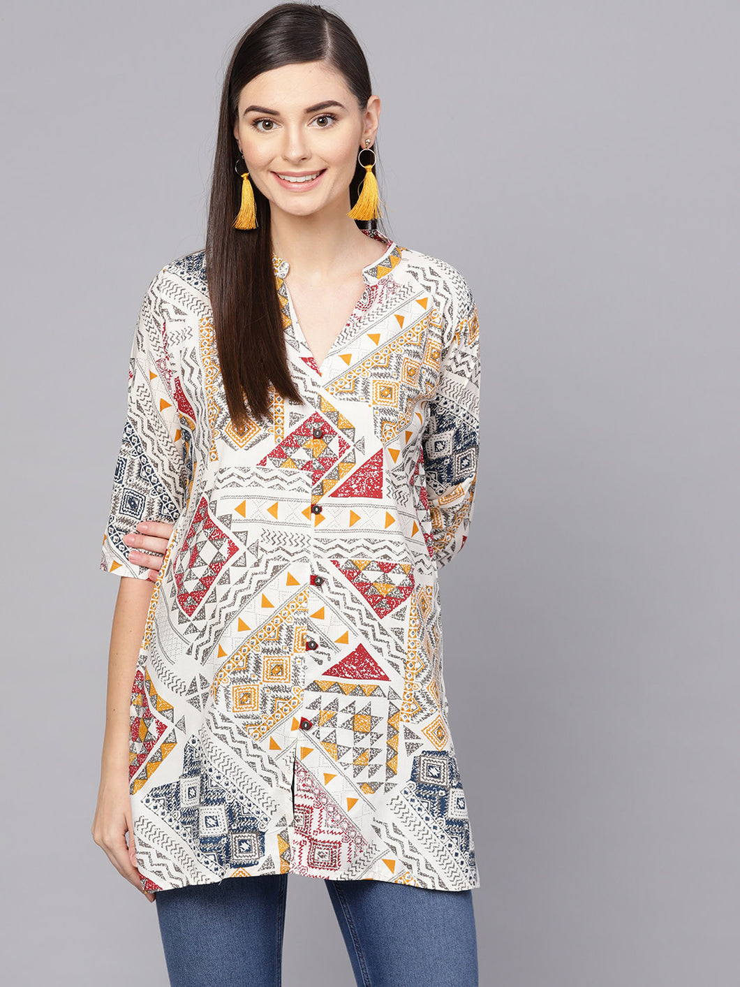 Queen ellie Women Off White & Mustard Yellow Printed Straight Kurti