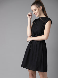 Queen ellie Women Black Solid Fit and Flare Dress