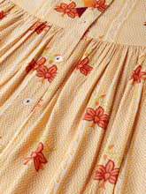 Load image into Gallery viewer, Queen ellie Women Yellow & Orange Printed A-Line Dress