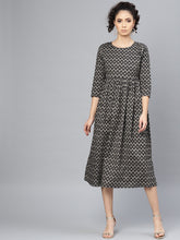 Load image into Gallery viewer, Queen ellie Women Printed Black A-Line Dress