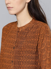 Load image into Gallery viewer, Queen EllieWomen Rust Brown & Black Printed Tunic