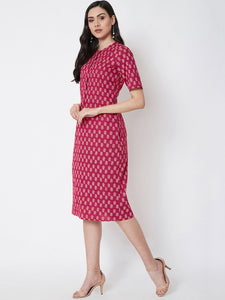 Queen ellie Women Pink Printed Sheath Dress