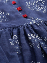 Load image into Gallery viewer, Queen ellie Women Blue Indigo Hand Block Print A-Line Dress with Gathers Detail