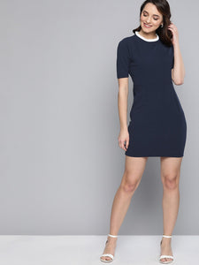 Queen ellie Women Navy Blue Solid Sheath Dress