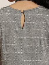 Load image into Gallery viewer, Queen ellie Women Grey & White Lambani Checked A-Line Dress With Embroidered Detail