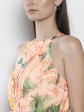 Load image into Gallery viewer, Queen ellie Women Peach-Coloured & Green Tropical Printed Maxi Dress