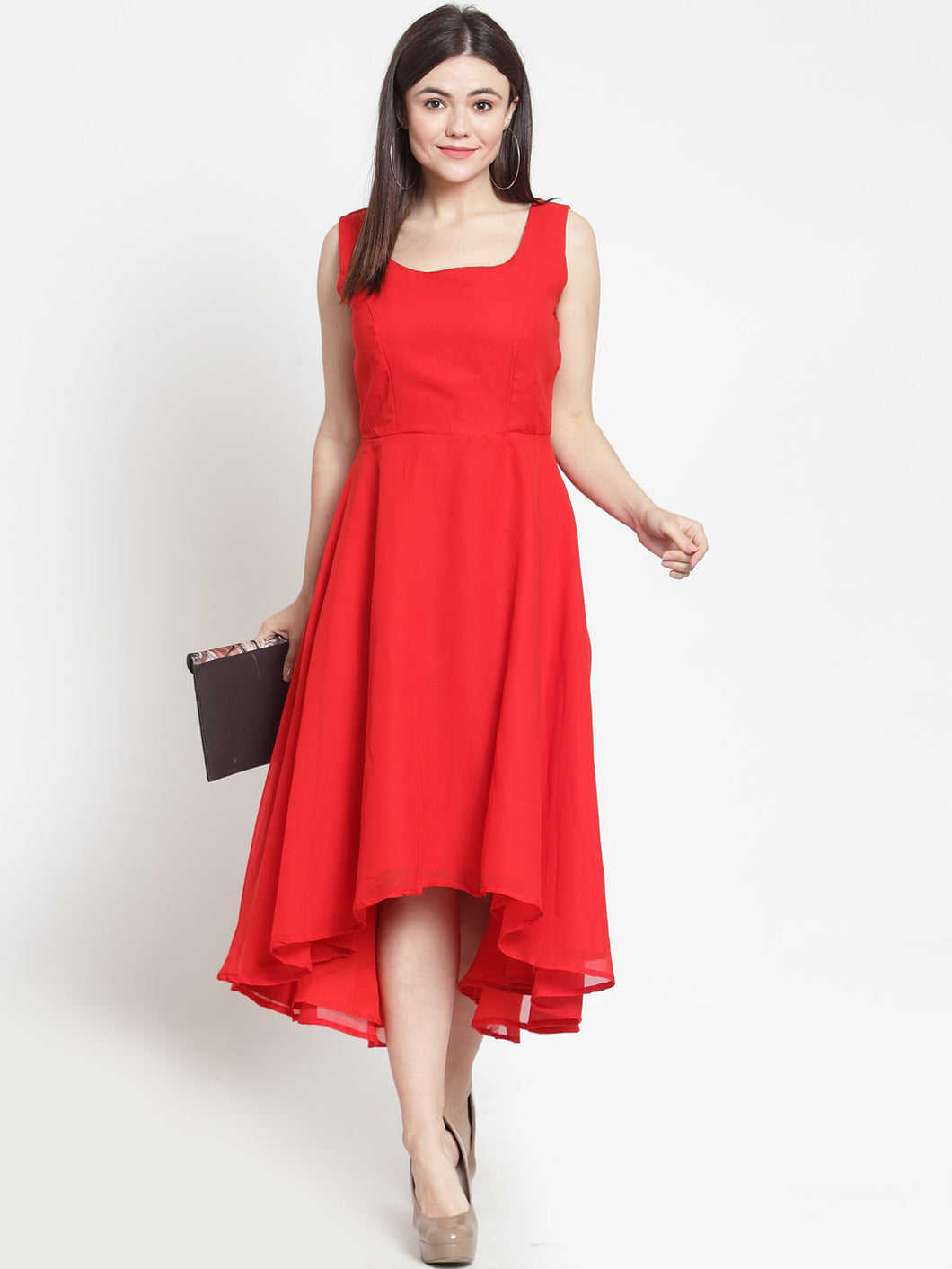Queen ellie Women Solid Red Fit and Flare Dress