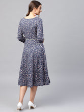 Load image into Gallery viewer, Queen ellie Women Navy Blue & Pink Printed Fit and Flare Dress