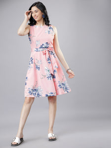 Queen ellie Women Pink & Blue Floral Print Fit and Flare Dress