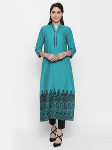 Queen ellie Women Green Embroidered Kurti