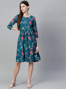 Queen ellie Women Teal Blue & Coral Pink Floral Print A-Line Dress