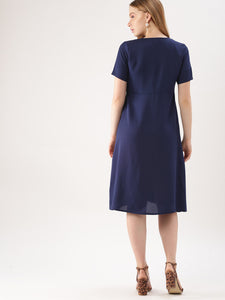 Queen ellie Women Navy Blue Solid A-Line Dress