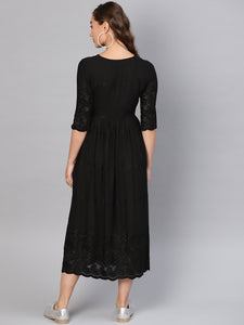 Queen ellie Women Black Embroidered A-Line Dress