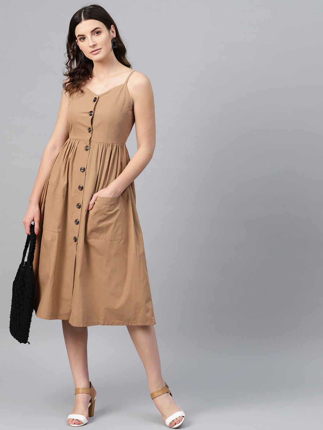 Queen ellie Women Brown Solid Empire Dress