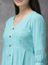 Load image into Gallery viewer, Queen ellie Women Turquoise Blue Solid A-Line Fusion Kurta
