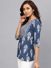 Load image into Gallery viewer, Queen ellie Women Navy Blue & Off-White Printed A-line Kurti