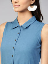 Load image into Gallery viewer, Queen ellie Women Blue Solid Shirt Dress