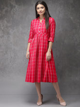 Load image into Gallery viewer, Queen ellie Women Pink & White Checked Fusion A-Line Kurta