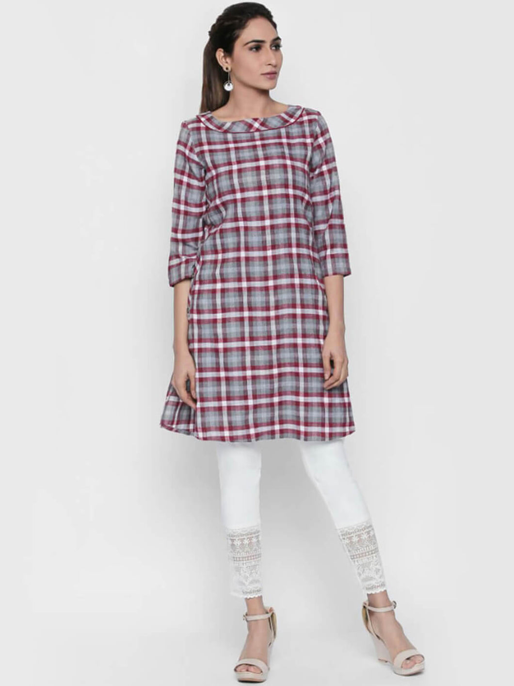 Queen ellie Women Red & Grey Checked A-Line Kurti