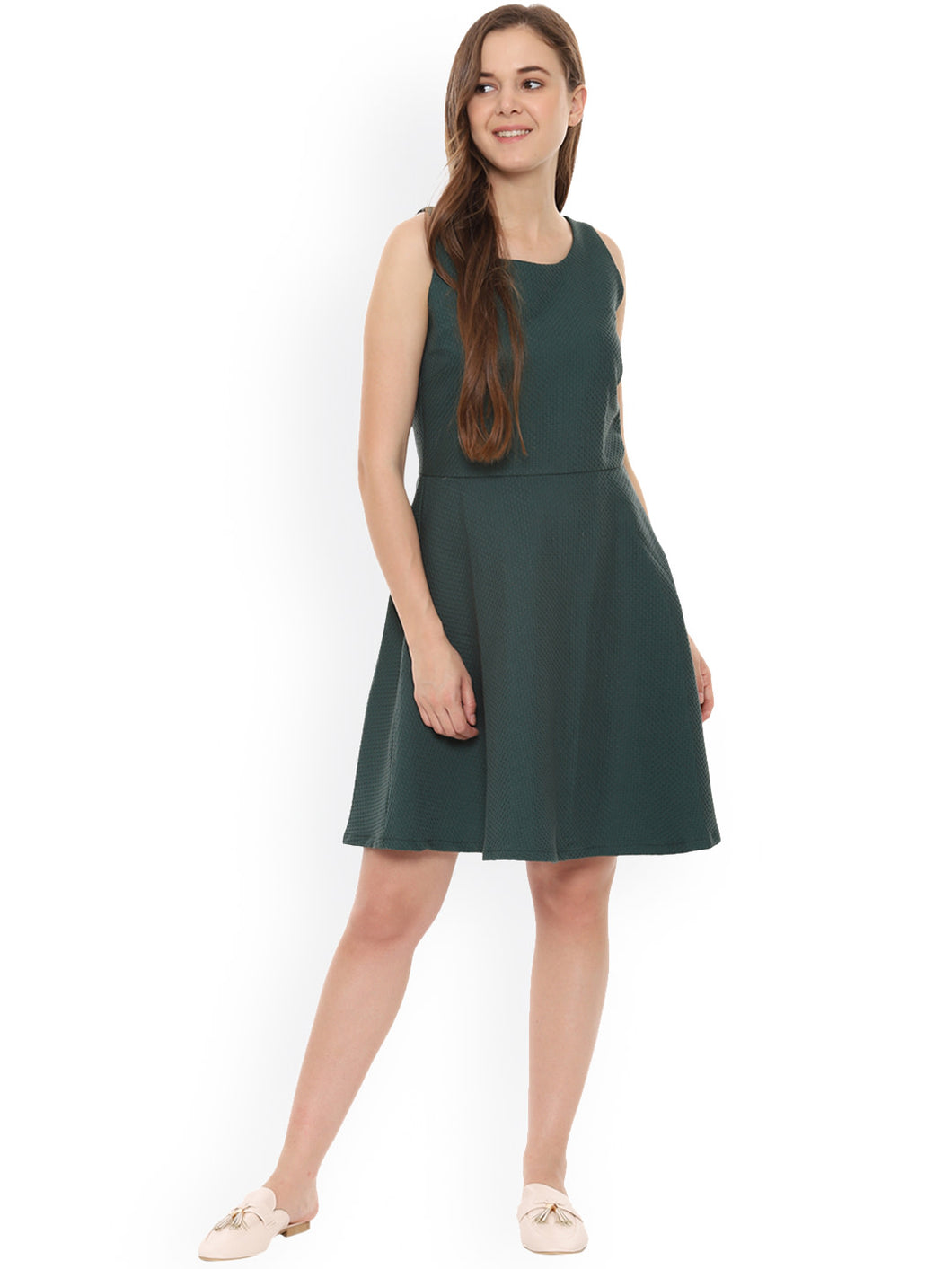 Queen ellie  Women Olive Green Self Design Fit and Flare Dress