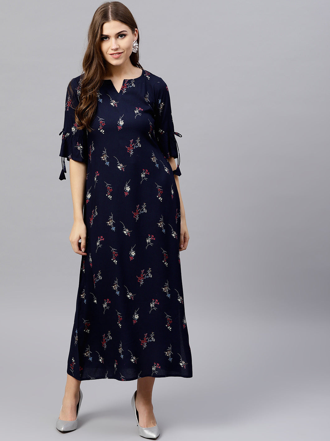 Queen ellie Women Navy Blue Printed Maxi Dress