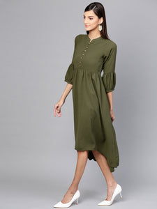 Queen ellie Women Olive Green Solid A-Line Dress